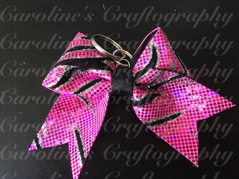 Pink Zebra Keychain Cheer Bow  **RTS**