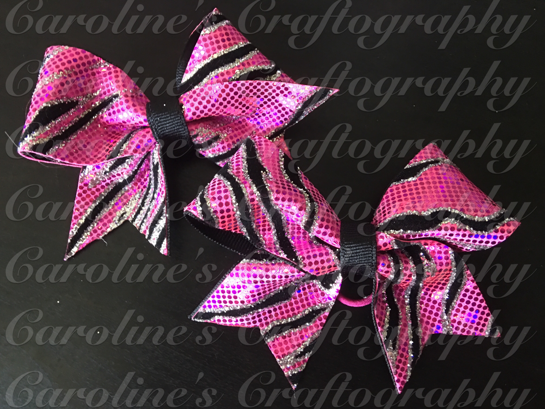 Pink Zebra Pig Tail Cheer Bows  **RTS**