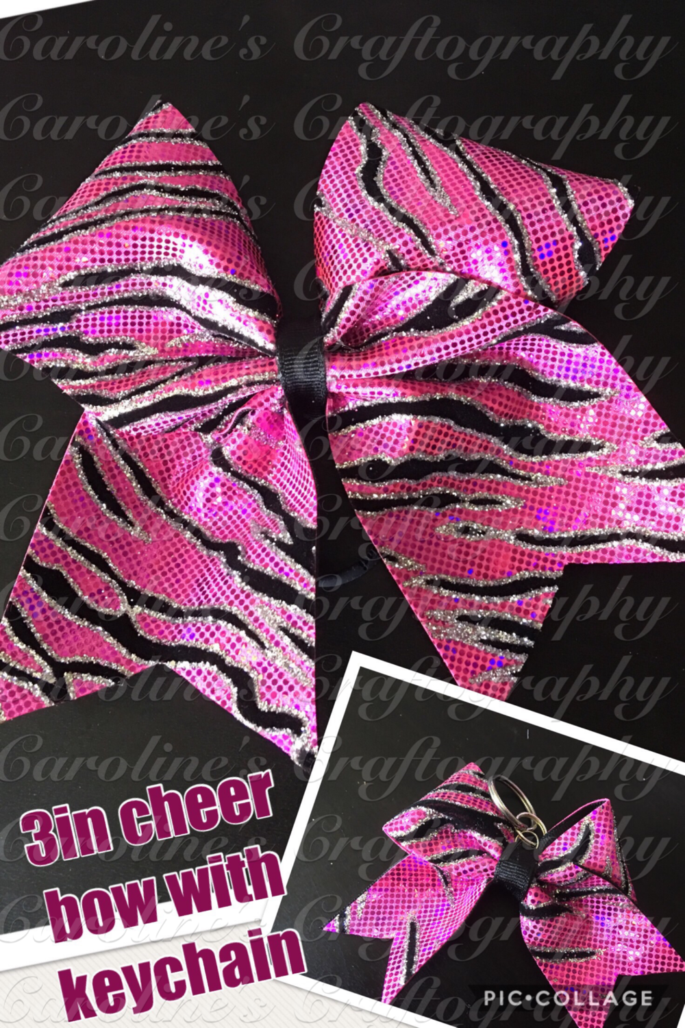 Pink Zebra Cheer Bow Bundle  **RTS**