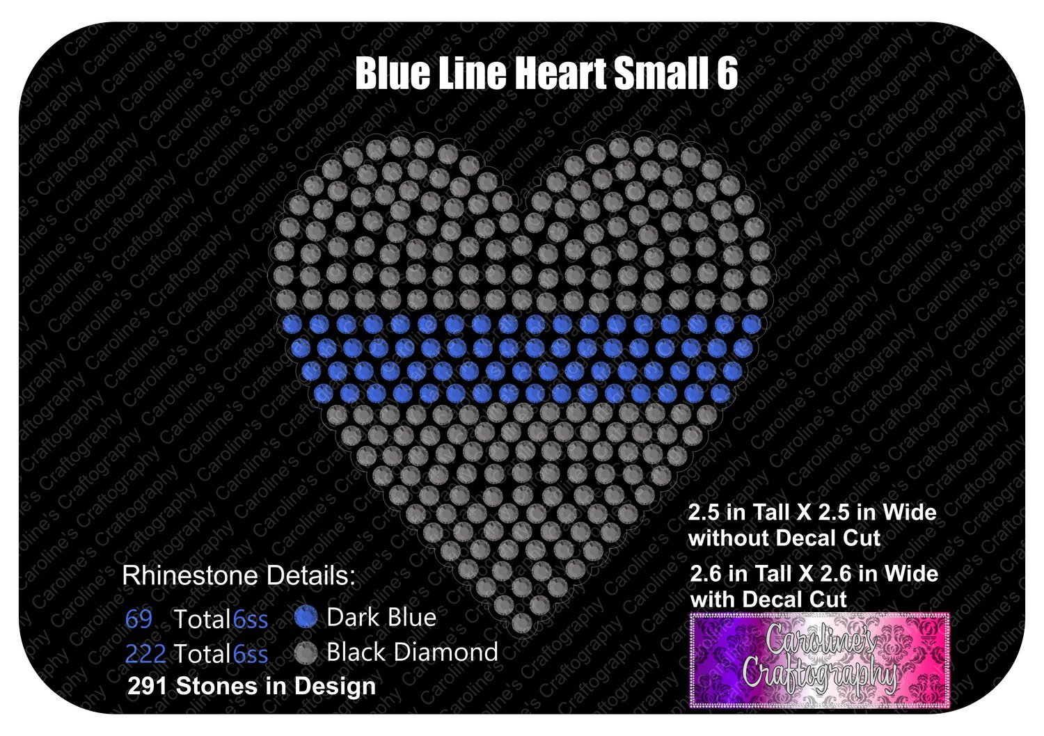 Blue Line Heart Stone Decal Small 6