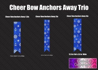 Anchors Away Cheer Bow Trio Vinyl