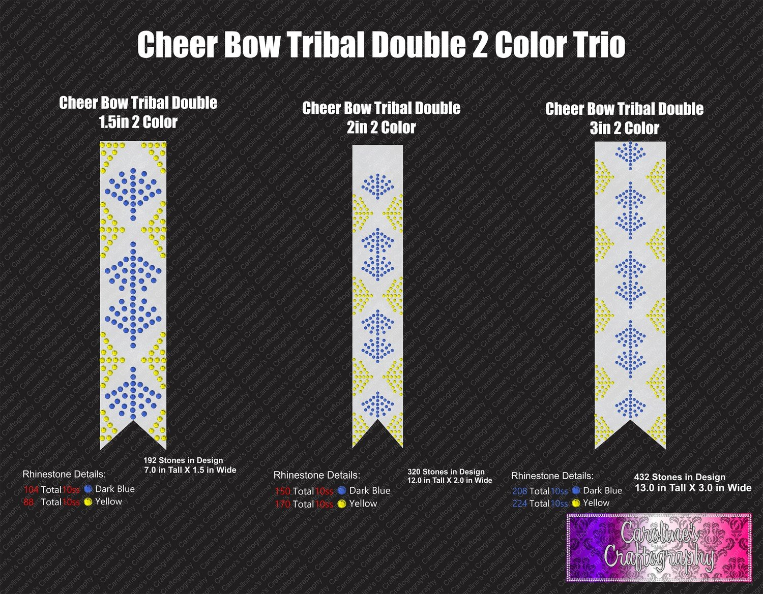 Tribal Double 2 Color Cheer Bow Stone Trio
