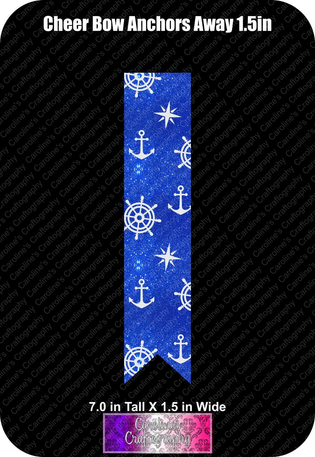 Anchors Away 1.5in Cheer Bow Vinyl