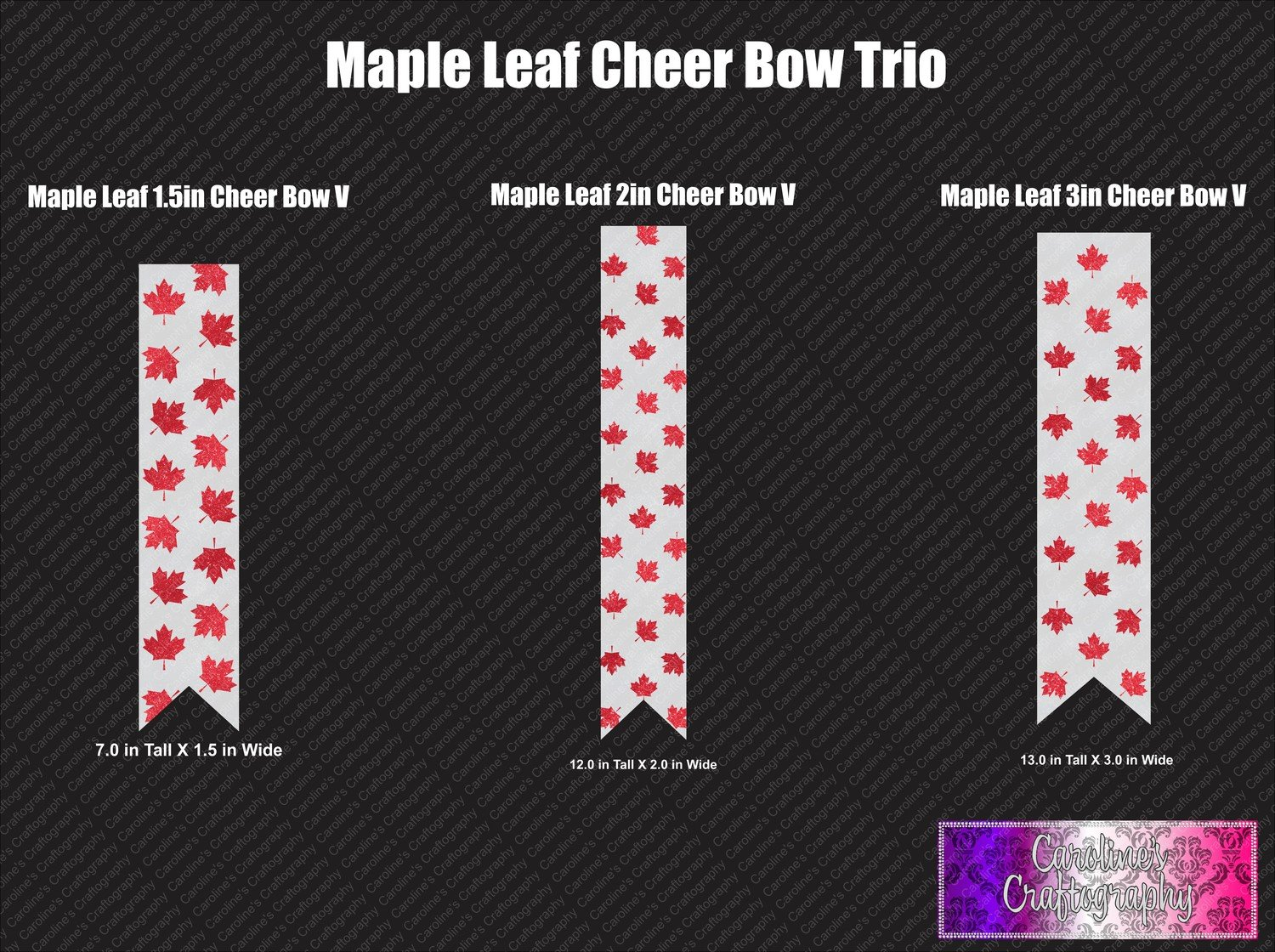 Maple Leaf Trio Cheer Bow Vinyl
