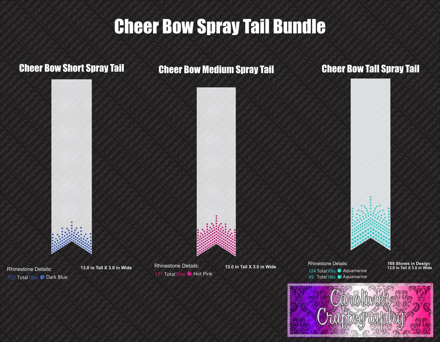 Spray Tail 3in Cheer Bow Stone Bundle