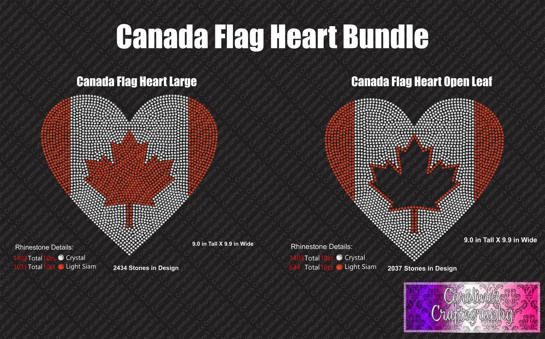 Canada Flag Heart Large Hearts Stone Bundle