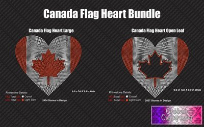 Canada Flag Heart Large Hearts Stone Bundle