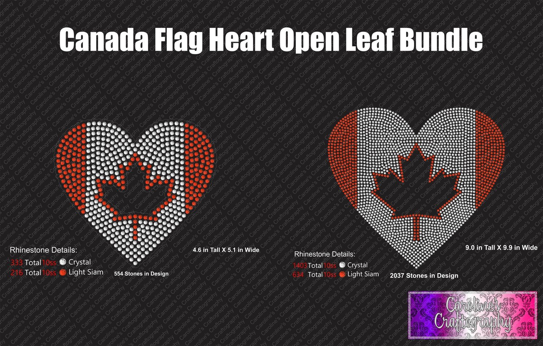Canada Flag Heart Open Leaf Stone Bundle