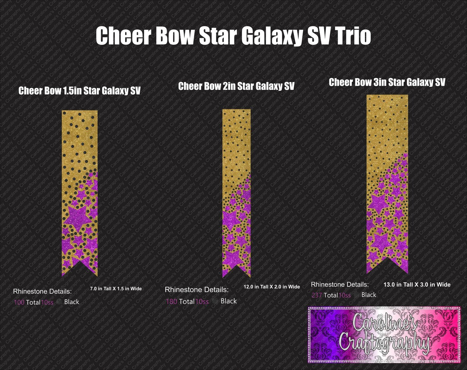 Star Galaxy Scatter Cheer Bow Stone Vinyl Trio