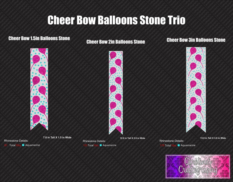 Cheer Bow Balloons 1 Color Stone Vinyl Trio