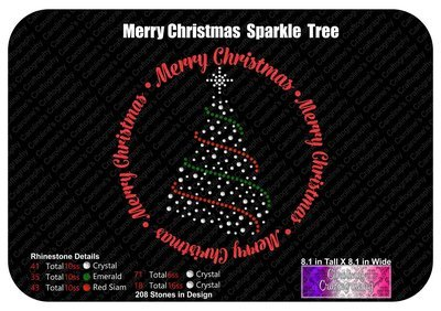 Merry Christmas Sparkle Tree Stone Vinyl