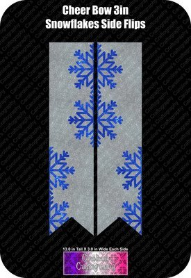 Snowflakes Side Flips 3in Cheer Bow Vinyl