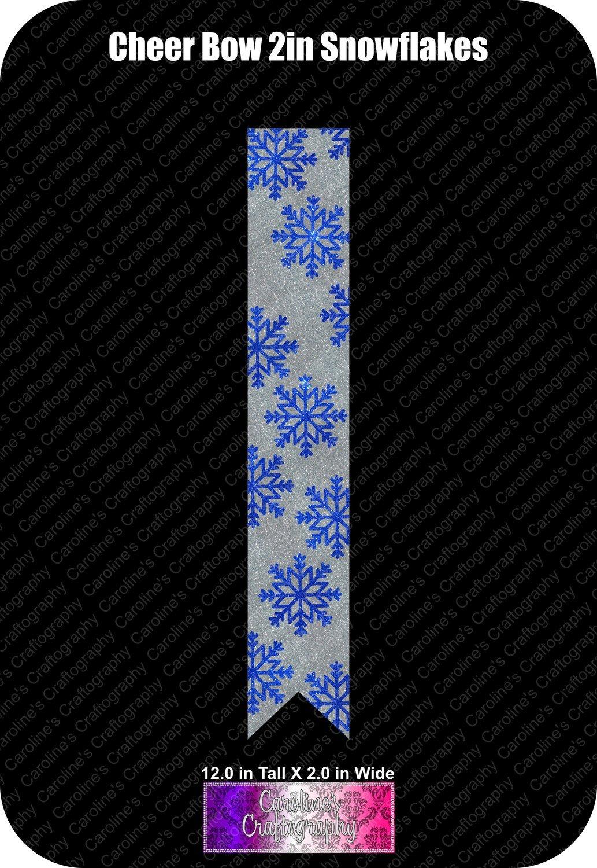 Snowflakes 2in Cheer Bow Vinyl