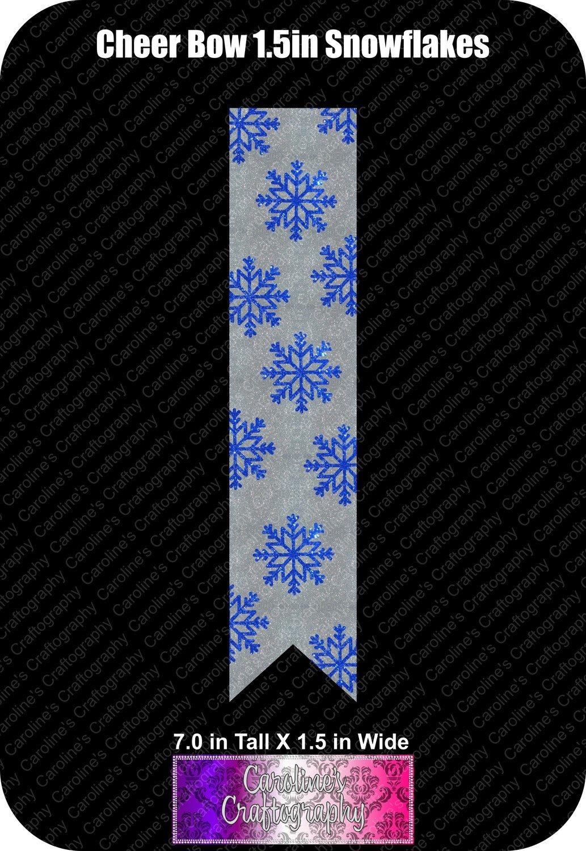 Snowflakes 1.5in Cheer Bow Vinyl