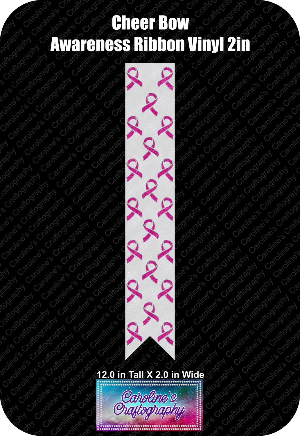 Cheer Bow Awareness Ribbon 2in vinyl