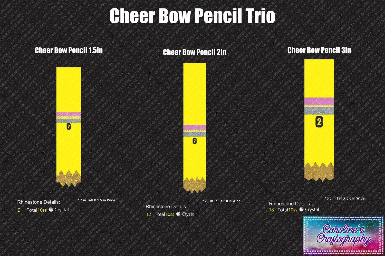 Cheer Bow Pencils Stone Vinyl Trio
