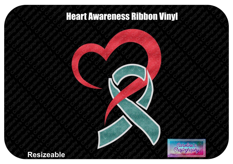 Heart Awareness Ribbon Vinyl Decal