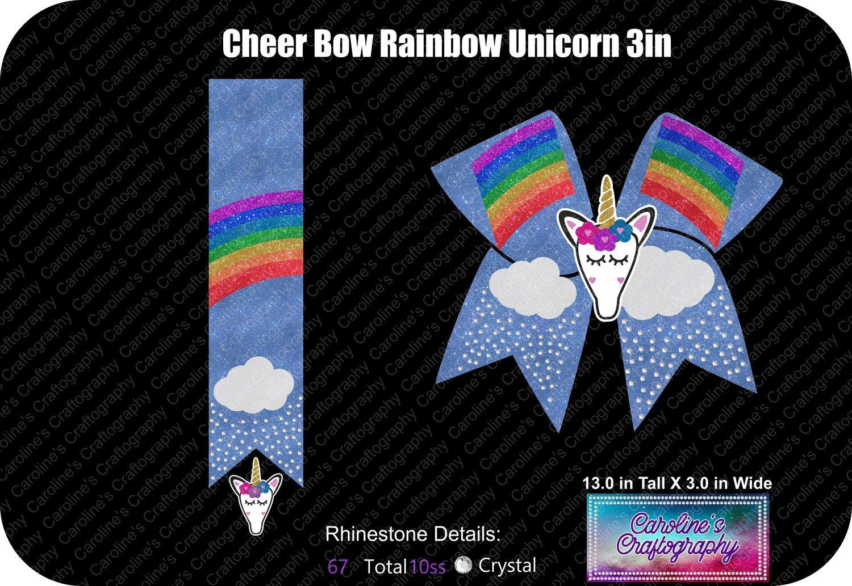 Cheer Bow Rainbow Stone Vinyl with 3D Unicorn Center 3 inch