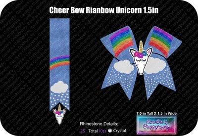 Cheer Bow Rainbow Stone Vinyl with 3D Unicorn Center 1.5 inch