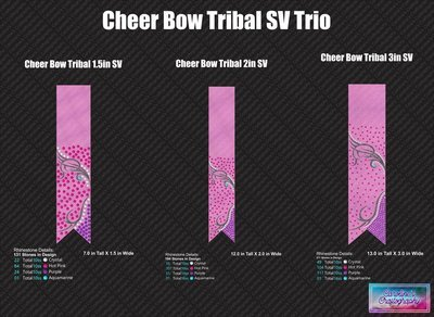 Cheer Bow Tribal Loops Tails Stone Vinyl Trio