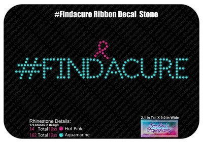 #FINDACURE Ribbon Rhinestone Decal