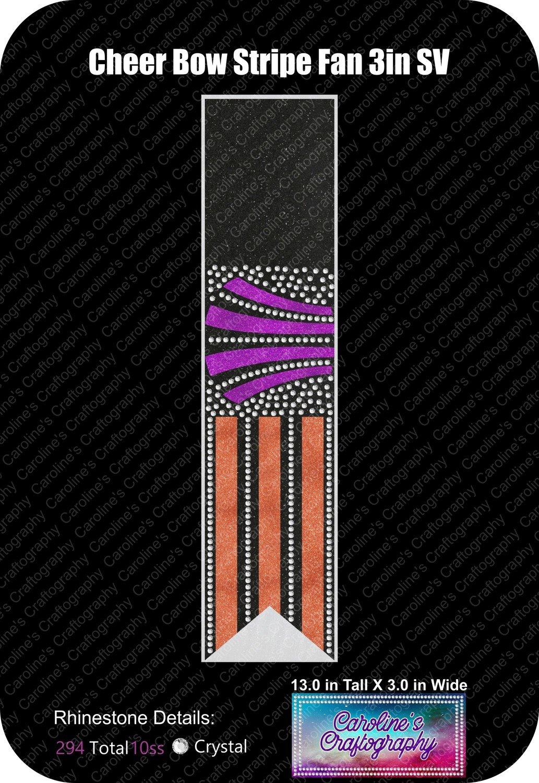 Cheer Bow Stripe Fan Stone Vinyl 3in