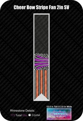 Cheer Bow Stripe Fan Stone Vinyl 2 inch