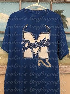 M Devils Rhinestone Vinyl Shirt (Blue)