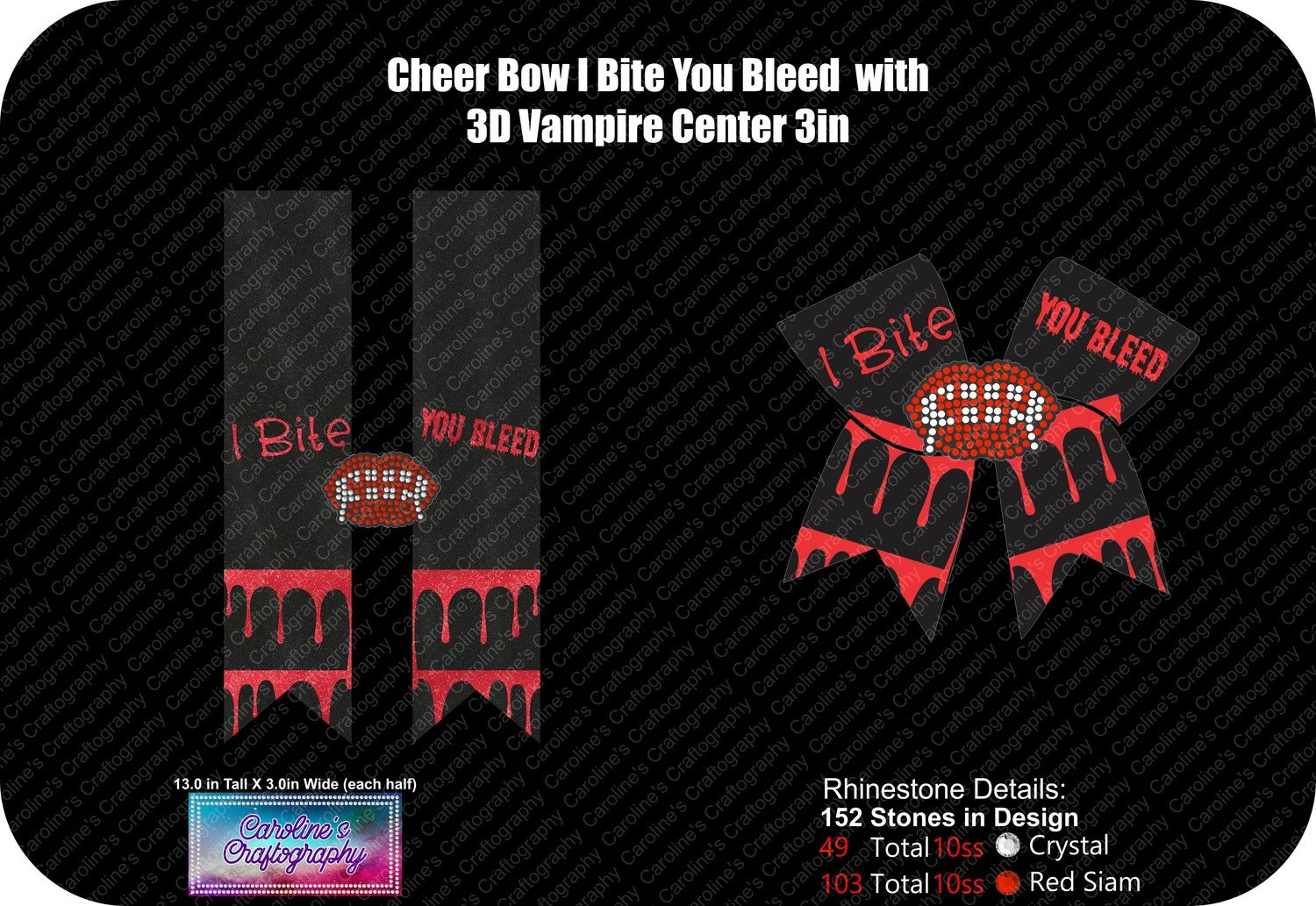 Cheer Bow Vampire 3D Center 3in Stone Vinyl