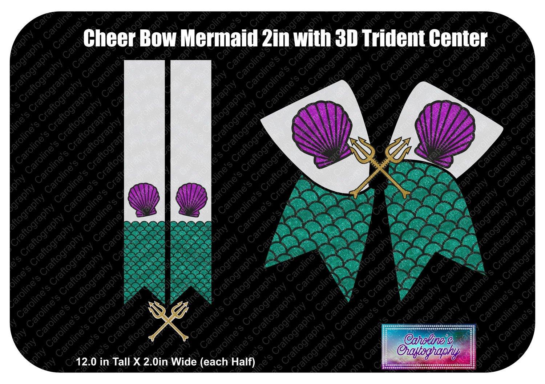 Cheer Bow Mermaid 3D Trident Center 2in Vinyl