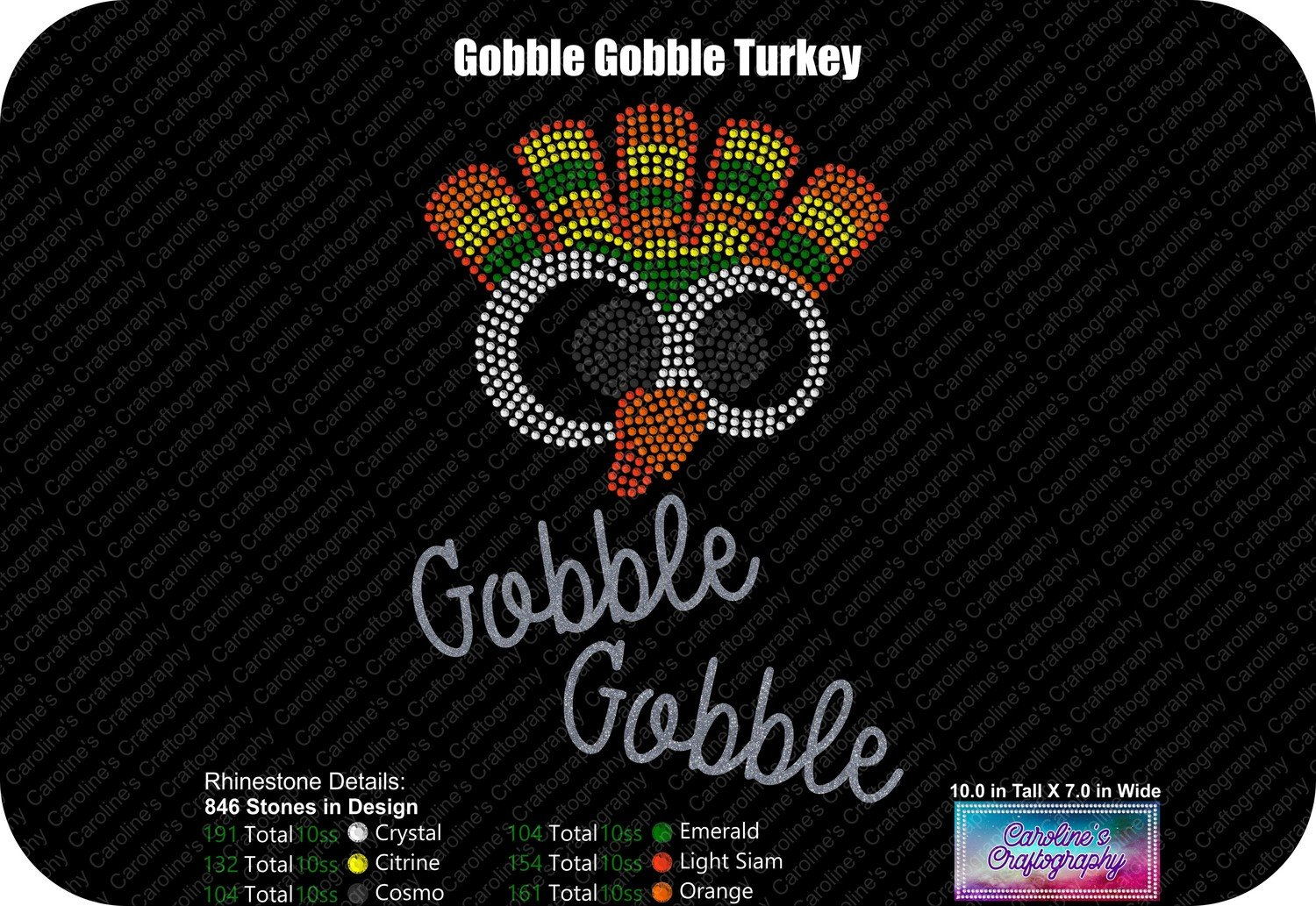 Gobble Gobble Funky Turkey Face Stone Vinyl