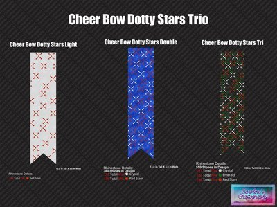 Cheer Bow Dotty Stars Trio 3in Stone
