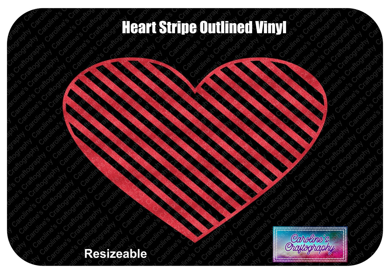 Heart Striped Outline Vinyl