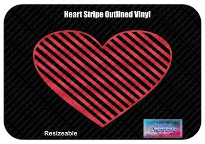 Heart Striped Outline Vinyl