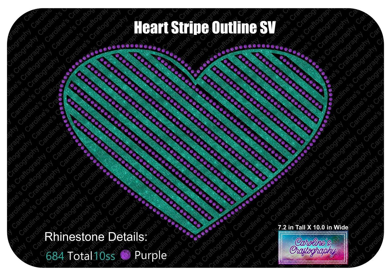 Heart Striped Outline Stone Vinyl