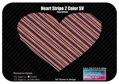 Heart Striped 2 Color Stone Vinyl (None Outlined)