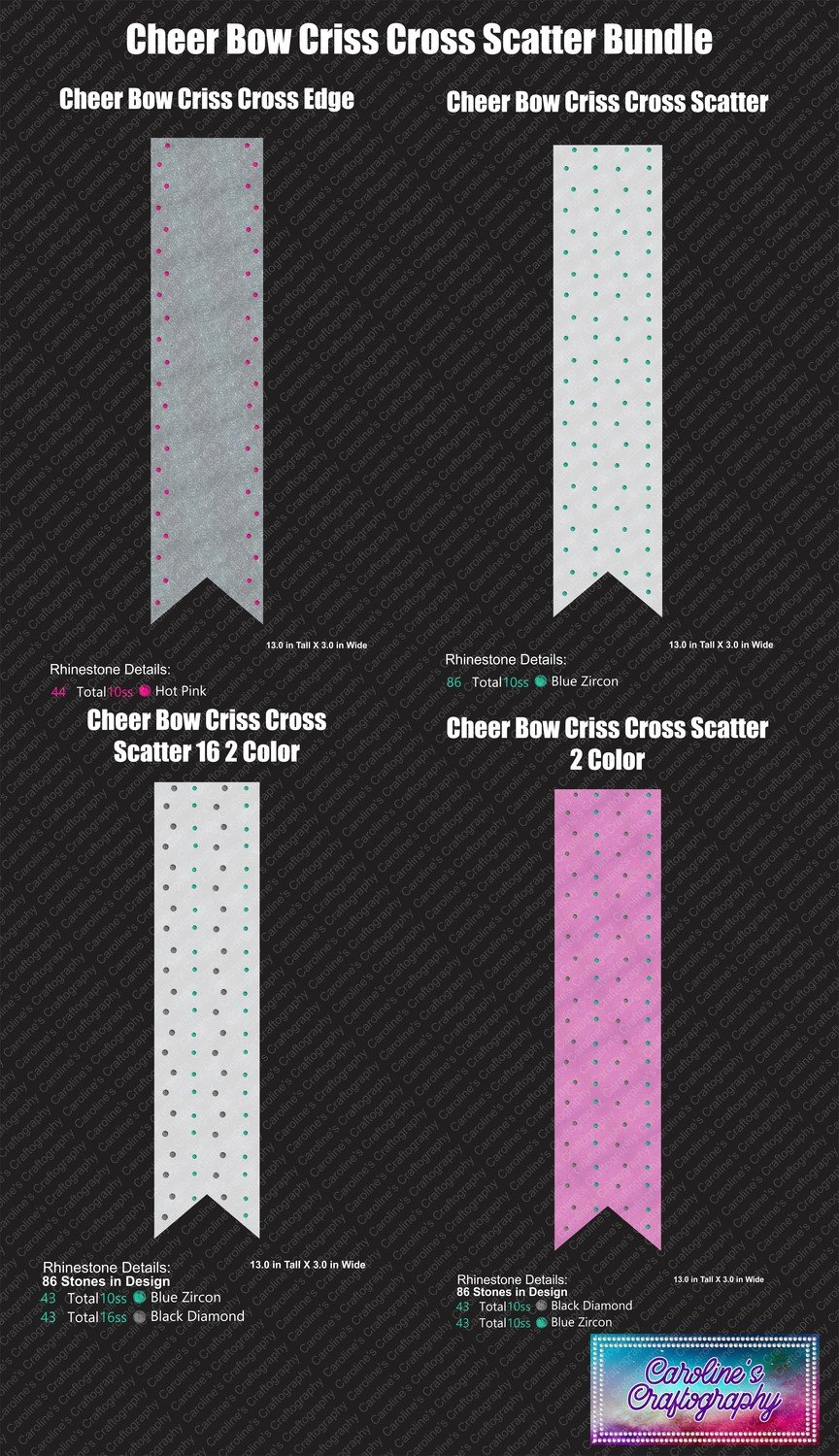 Cheer Bow Criss Cross Scatters Bundle