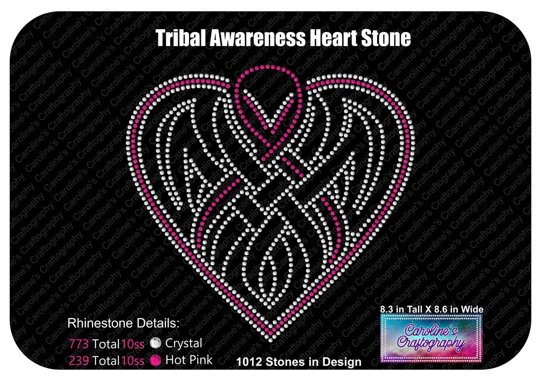 Tribal Awareness Ribbon Heart Stone
