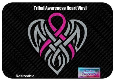 Tribal Awareness Ribbon Heart Vinyl