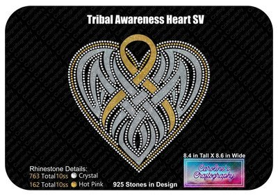 Tribal Awareness Ribbon Heart Stone Vinyl