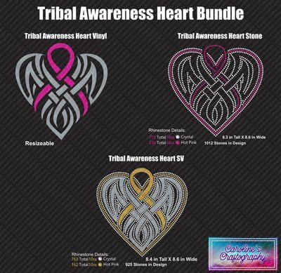 Tribal Awareness Ribbon Heart Bundle