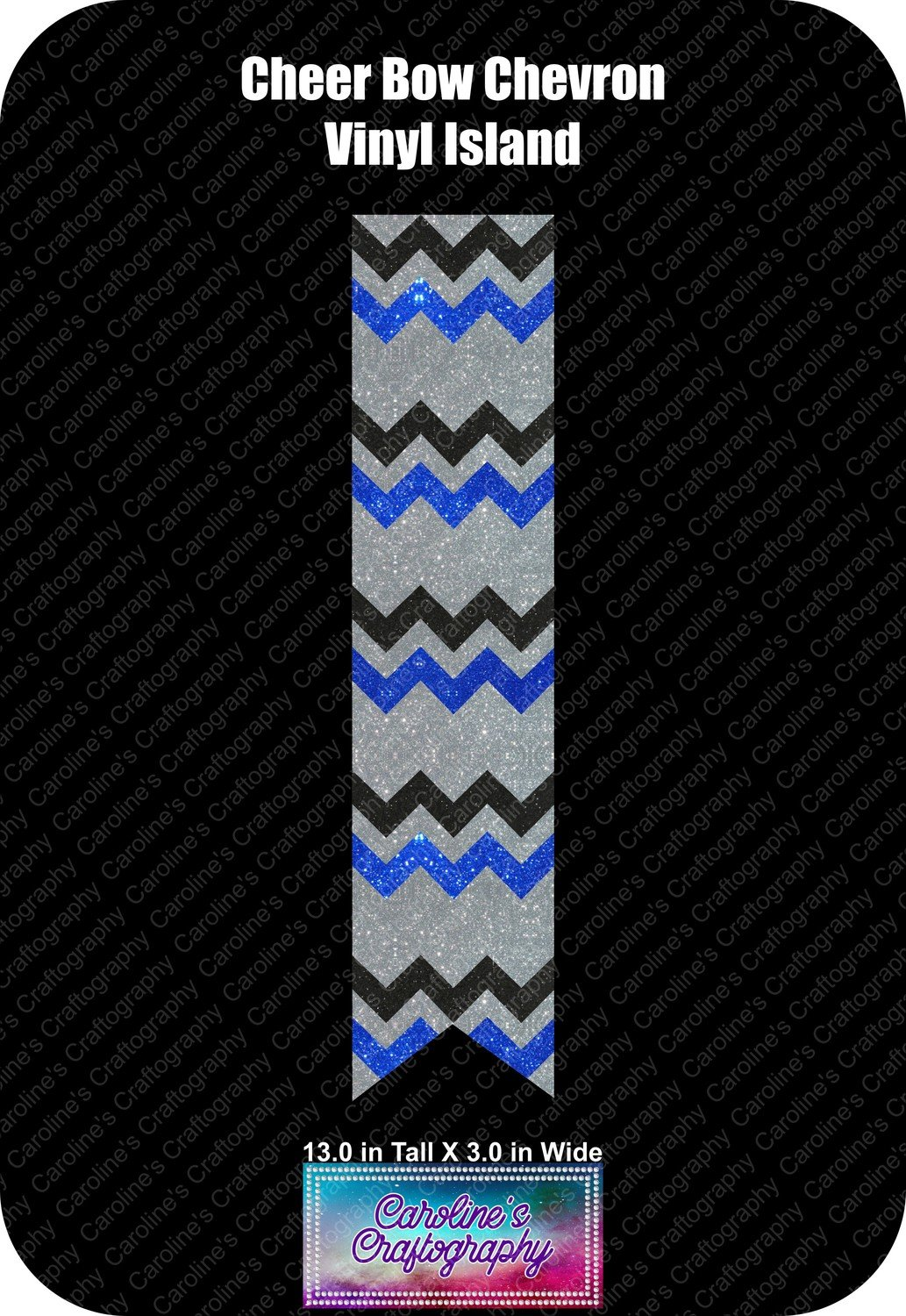 Cheer Bow Chevron Vinyl Island 3in
