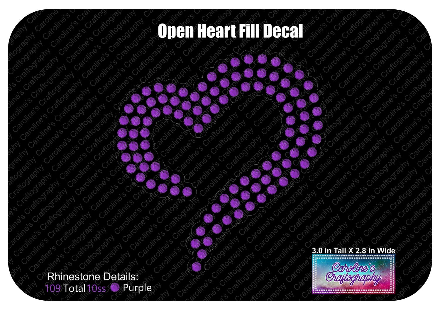 Open Heart Fill Decal Stone