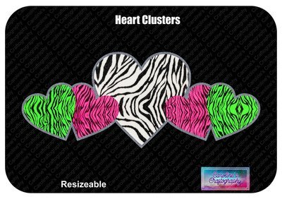 Heart Clusters Vinyl or Fabric for Faux Applique