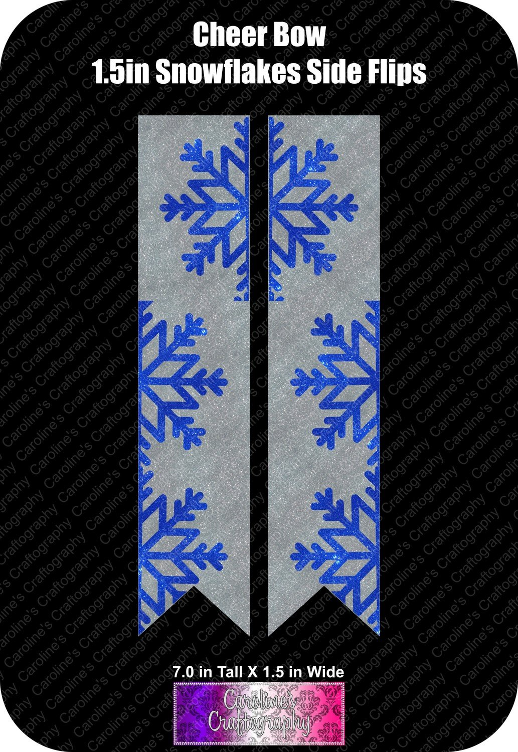 Snowflakes Side Flips 1.5in Cheer Bow Vinyl