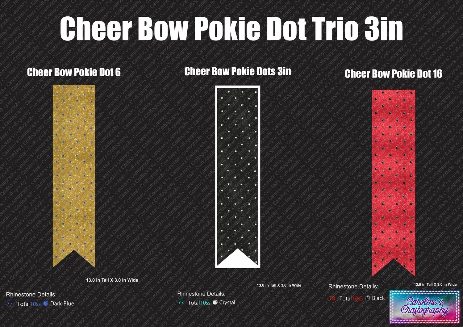 Cheer Bow Pokie Dot 3in Trio