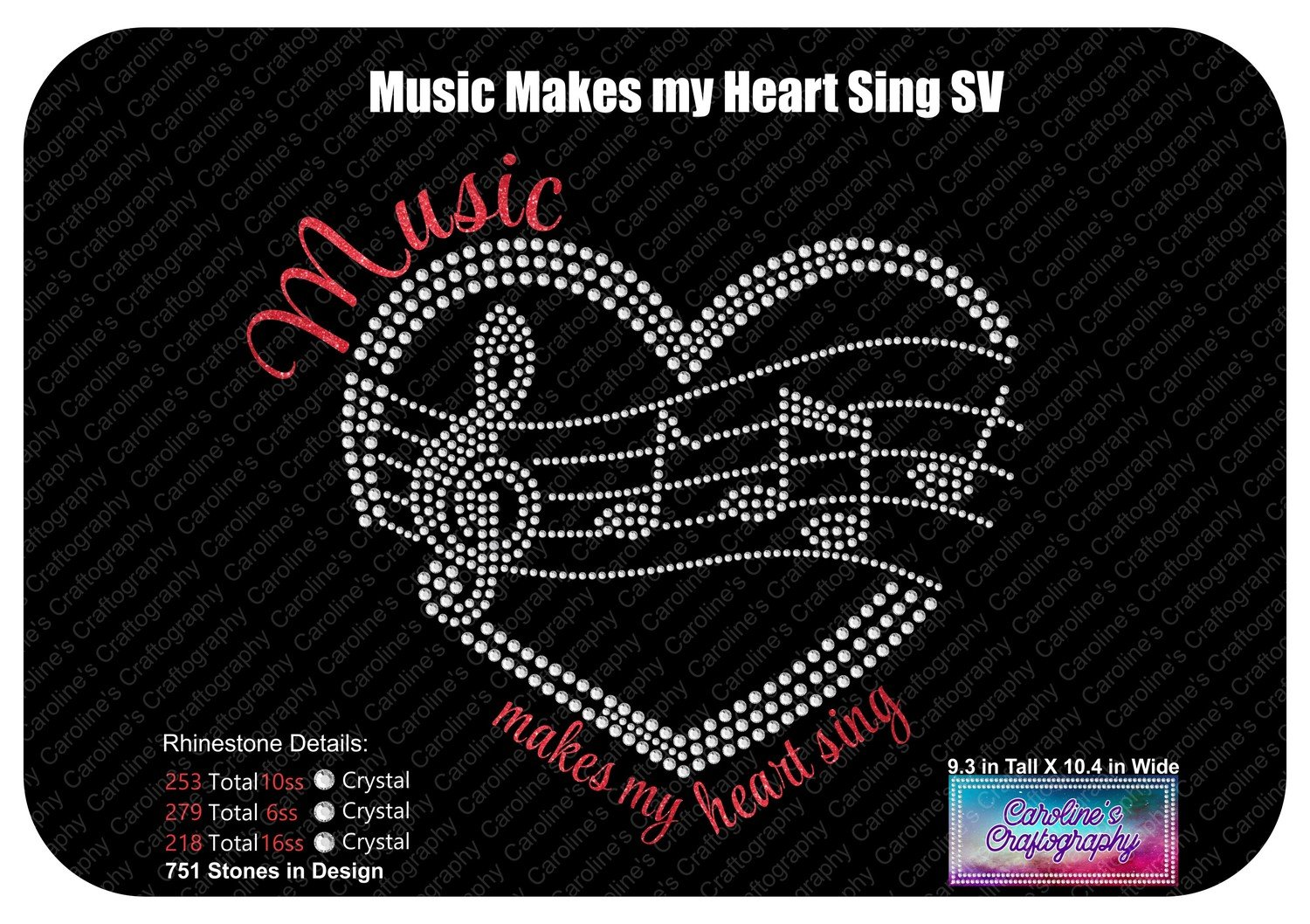 Music makes my heart sing Heart Staff Stone Vinyl