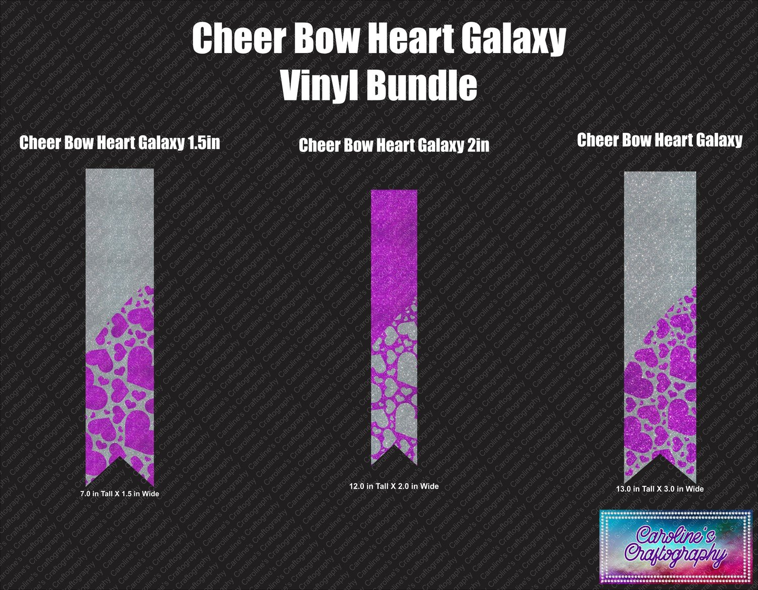 Heart Galaxy Cheer Bow Vinyl Trio