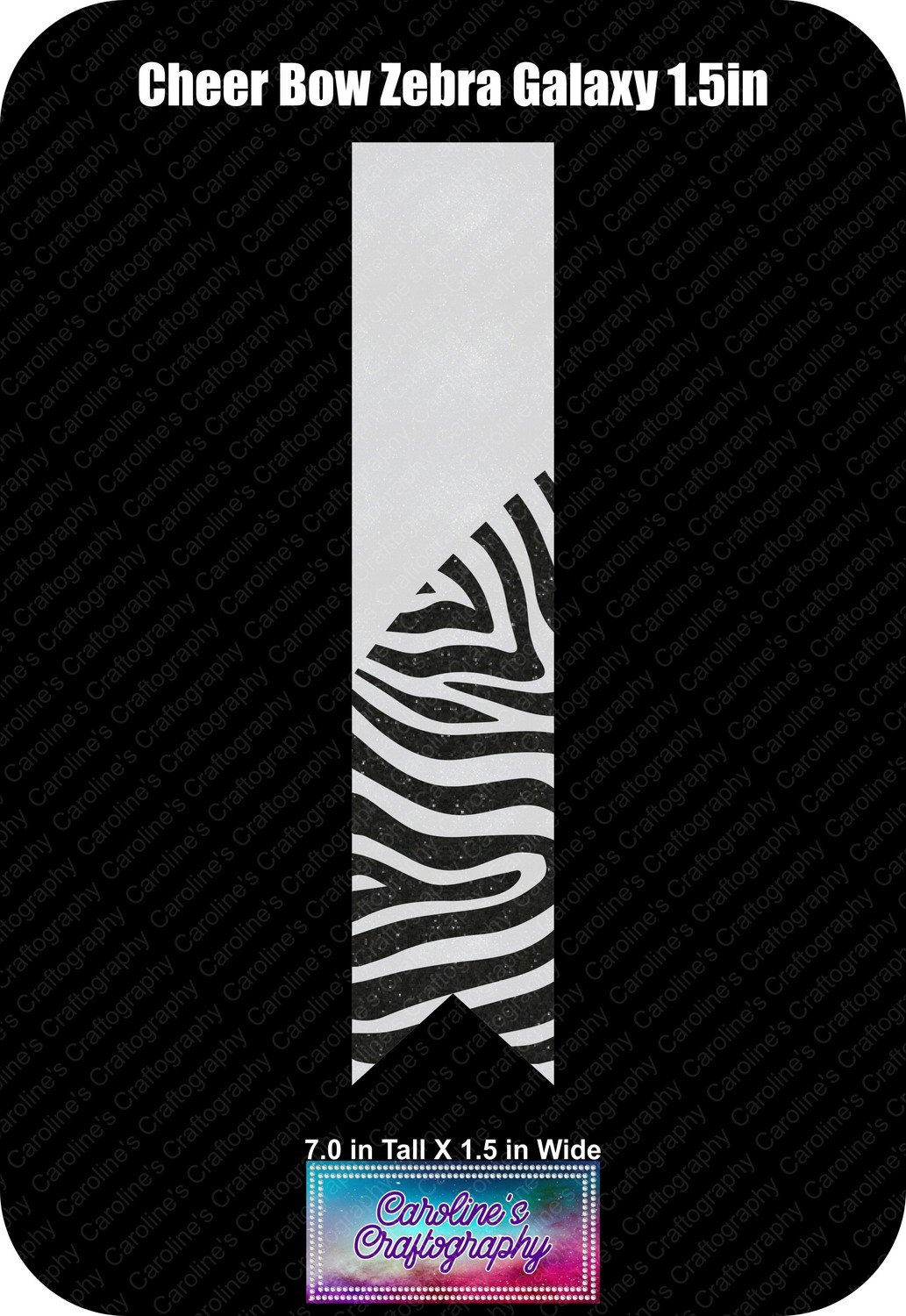 Zebra Galaxy 1.5in Cheer Bow Vinyl