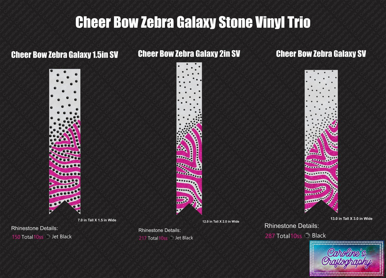 Zebra Galaxy Cheer Bow Stone Vinyl Trio